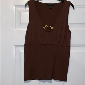 August Silk Brown Sweater Tank